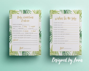 Tropical baby predictions advice wishes for baby floral printable predictions baby shower games botanical advice wishes green leaves