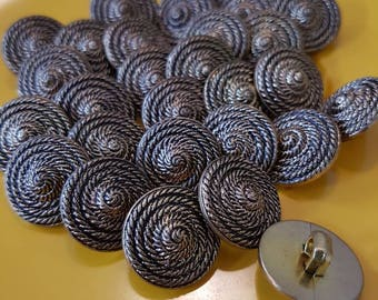 Vintage buttons brass colour swirled rope design 3/4 inch x 28 pieces Craft - Haberdashery - dress making