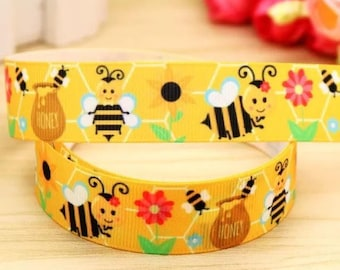 "Lot of 2 Metres of 7/8"" Grossgrain Ribbon - Honey Bees - For Craft"