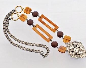 Rhinestone Pendant Necklace - Vintage WEISS - Rhinestone Necklace - Caramel Ice Collection 109.99