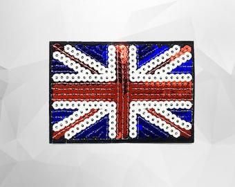 Flag Sequin Iron on Patch (L) - Sequin Union Jack Flag Glitter Applique Iron on Patch - Size 8.6x6.1 cm