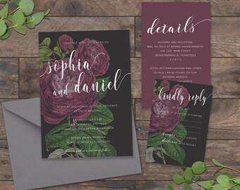 Purple and Gray, Flower Wedding Invitations, Vintage Rose Wedding Invitation, Garden Wedding Invitation, Greenery Wedding - 064