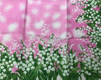 Vintage Japanese Handkerchief Lily of the valley Flower