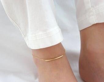 Bar anklet, Dainty Gold anklet, Foot Jewelry, Anklet Bracelet, Summer bracelet, Silver, Rose gold wedding jewelry, Everyday minimal jewelry