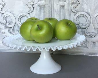 Vintage  Milk Glass Cake Stand / Fenton Silver Crest Cake Stand / Dessert Stand / Milk Glass Pedestal