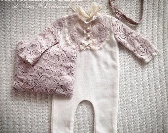 Newborn romper, pillow and tieback