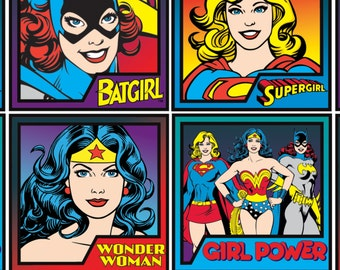 Wonder Woman, Super Woman, Bat Girl Fabric / DC Comics: Immortals Fabric  23400406 / 1 Yard Cuts - 1/2 Yard Cuts - Camelot Fabrics