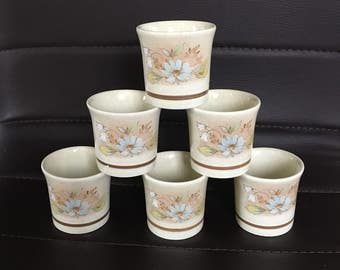 Set of 6 Six Single Egg Cup in Florinda by Royal Doulton, Egg Cups