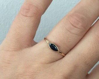 14k solid gold and genuine blue sapphire ring, evil eye ring, marquise cut sapphire