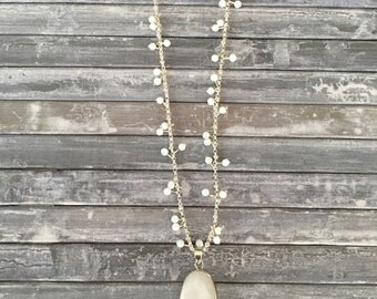 Quartz Pendant Necklace, Silver Necklace, Crystal Bead Necklace, Long Statement Necklace