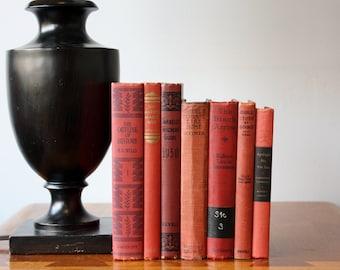 Red and Black Books, Decorative Books, Antique, Vintage Books, Decor, Book Décor, Wedding Decor, Home Decor, Centerpiece, Office Décor,