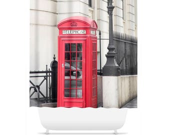 London Shower Curtain, Travel, Bathroom Decor, Red Telephone Booth, England Decor, Bathroom Accessories, 71x74, 70x90