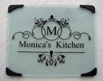 Glass cutting board, personalized cutting board, monogram cutting board