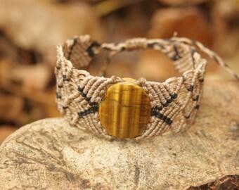 Brown Beige Fawn Tiger Eye Gemstone Macrame String Bracelet