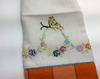 Embroidered All Cotton 1950s Tea Towel DishTowel Retro Kitchen Linens Butterfly and Flowers Housewarming or Hostess Gift