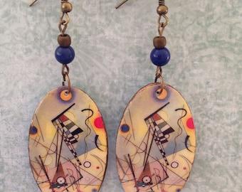 Up-cycled Oval Shape Kandinsky Earrings, decoupage earrings, paper earrings, boho style