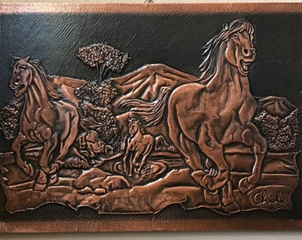 Copper Wall Art - Wild Horses