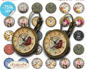 75% OFF SALE Antique Clock Faces - 18mm, 16mm, 14mm, 12mm, 10mm Circles Digital Collage Sheets E-024 Printable Watch Earring, Rings, Jewelry