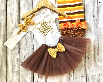 Miss gobble gobble thanksgiving outfit, baby girls thanksgiving outfit, first thanksgiving outfit, thanksgiving shirt, girls thanksgiving