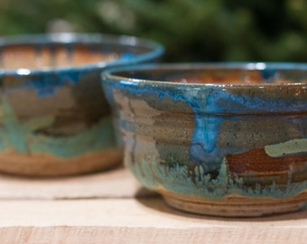 Serving bowls with beautiful weathered bronze, blue and brown glazes