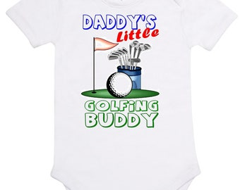 Baby Romper Suit (One piece) printed with'Daddy's Little Golfing Buddy' on cotton short sleeve romper.
