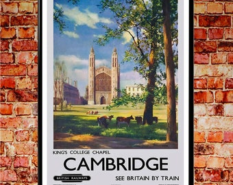 Cambridge Travel Poster England Poster English Travel Print British Wall Art British Art British Posters Great Britain Print