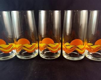 Vintage Sunset Glassware - Set of 5