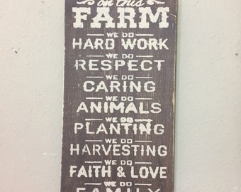 Farm sign on new wood distressed and aged rustic