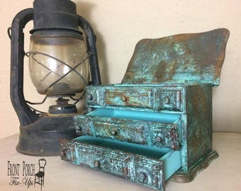 Small Vintage Wood Jewelry Box with Copper Patina and Rust and Teal Green Blue Unique!