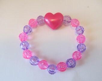 Valentine Heart Beaded Stretch Bracelet, Birthday Gift, Valentine Gift, Girls Bracelets, Kids Bracelets, Girls Jewelry,Heart Bracelet
