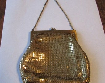 Vintage Whiting Davis Gold Mesh Small Evening Bag Purse