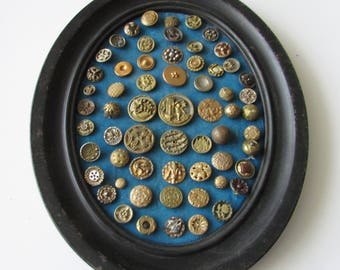 Vintage Framed Small Metal Button Estate Steel Cut Pictorial Floral Buttons Display