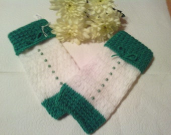 White and green fingerless gloves