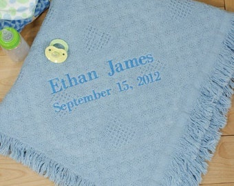 Embroidered Baby Boy Afghan Personalized Soft baby blanket