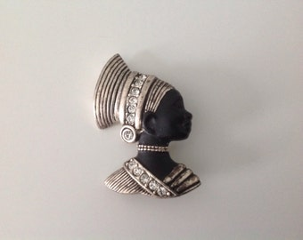 Mid Century African Queen Women Profile with Clear Rhinestones Brooch Pin | Black Women | Face Brooch|Gift for Her| Mothers Day Brooch
