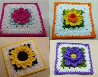 Awesome Deal! 4 Crochet Flower Granny Square Patterns for 16.00 DIGITAL DOWLOAD ONLY!