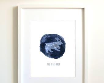 Big dipper | Ursa major | constellation | personalized gift | astrology art | zodiac art print | star sign | sky | indigo blue | astronomy