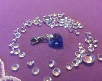 Something Blue Crystal Heart, Clip on Blue Heart Charm, Brides Good Luck Charm