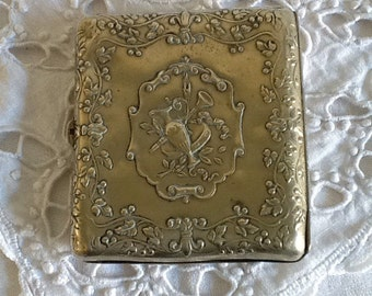 French antique cigarette case, silver plated cigarette box, antique ornate silver case. Silver box with musical instruments and flowers.