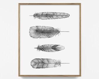 bw feather print, printable black and white feathers, feather art, boho feather print, printable feather art, Scandinavian print, feather