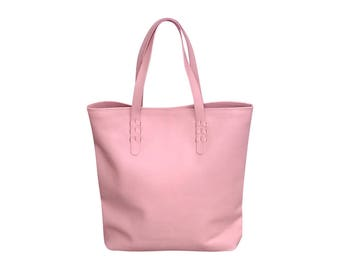 DINDA - Carry all leather tote, Pink genuine leather shopper bag, leather tote, laptop bag, tote leather bag, diaper bag, leather shopper