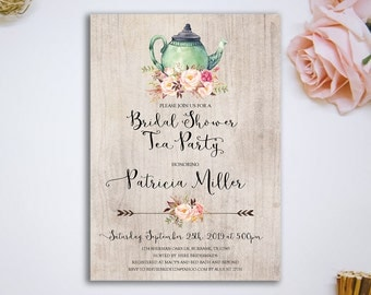 Bridal Shower Rustic Tea Party Invitation Printable Bridal Tea Party Invitation Bridal Tea Invitation Bridal Shower Invite - RTP-32