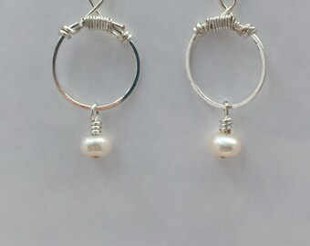 Hammered Circle Earrings featuring Fresh Water Pearl.