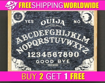 Black Ouija Board Print Dark Ouija Board Poster Black Ouija Board Art Print, Ouija Board Home Decor, Ouija Board Wall Art, Nursery Gift -557
