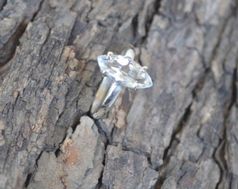 Natural White Topaz Gemstone 925 Sterling Silver Ring Size 7, Artisan Ring Jewelry,  White Topaz Gemstone Ring 7