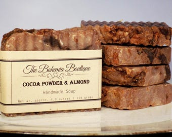 Cocoa Powder and Almond Soap - Handmade - Hot Process Soap