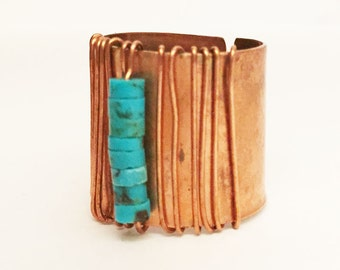 Big Turquoise Ring -- Handmade Artisan -- Turquoise Ring -- Adjustable Copper