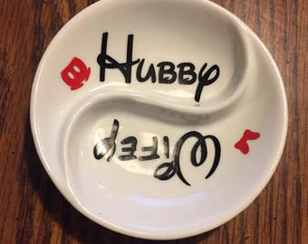 Disney split ring dish 3.5 inch wifey and hubby engagement gift