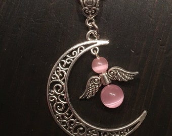 Half moon necklace with Angel