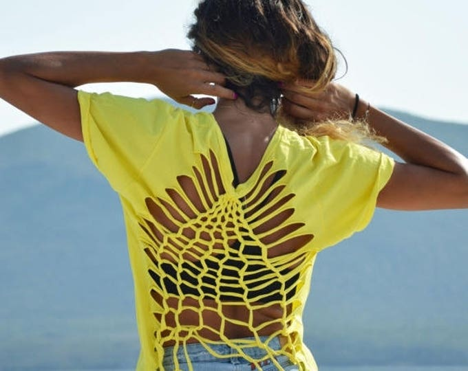 Sexy Elegant Yellow Top, Extravagant Oversized Loose Top, Open Back Cotton Blouse By SSDfashion